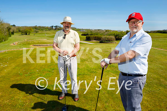 Ready to tee off on the Ballyheigue Golf course on the reopening of the Golf Club on Monday. Front right: Mick Green with Glen Wells.