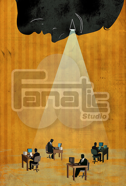 Conceptual illustration of business team working with spotlight depicting executives under surveillance