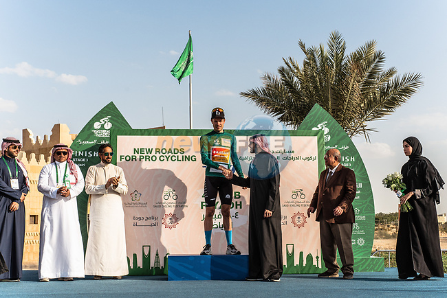 Phil Bauhaus (GER) Bahrain-Mclaren wins Stage 3 and takes over the race leader's Green Jersey of the Saudi Tour 2020 running 119km from King Saud University to Al Bujairi, Saudi Arabia. 6th February 2020. <br /> Picture: ASO/Kåre Dehlie Thorstad | Cyclefile<br /> All photos usage must carry mandatory copyright credit (© Cyclefile | ASO/Kåre Dehlie Thorstad)