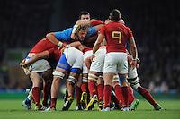 Joshua Furno of Italy works hard in the loose during Match 5 of the Rugby World Cup 2015 between France and Italy - 19/09/2015 - Twickenham Stadium, London <br /> Mandatory Credit: Rob Munro/Stewart Communications