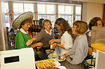 School Meals 1990s Uk. School dinner lady secondary school campaign in York. Mexican costume to encourage children to eat a different foods 1995 .