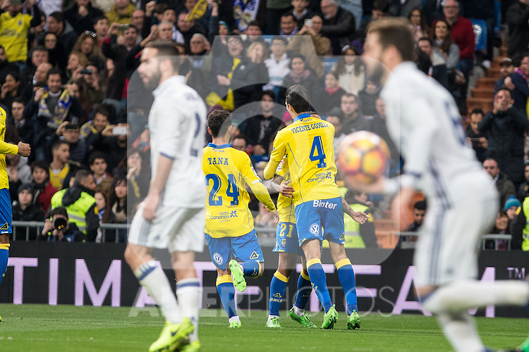 Vicente Gomez, Jonathan Viera celebrates after scoring a goal  during the match of Spanish La Liga between Real Madrid and UD Las Palmas at  Santiago Bernabeu Stadium in Madrid, Spain. March 01, 2017. (ALTERPHOTOS / Rodrigo Jimenez)