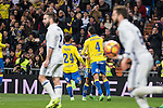 Vicente Gomez, Jonathan Viera celebrates after scoring a goal  during the match of Spanish La Liga between Real Madrid and UD Las Palmas at  Santiago Bernabeu Stadium in Madrid, Spain. March 01, 2017. (ALTERPHOTOS / Rodrigo Jimenez)