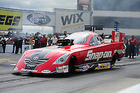 Sept. 18, 2011; Concord, NC, USA: NHRA funny car driver Cruz Pedregon during the O'Reilly Auto Parts Nationals at zMax Dragway. Mandatory Credit: Mark J. Rebilas-