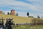 The peloton during Stage 3 of Tirreno-Adriatico Eolo 2021, running 219km from Monticiano to Gualdo Tadino, Italy. 12th March 2021. <br /> Photo: LaPresse/Marco Alpozzi   Cyclefile<br /> <br /> All photos usage must carry mandatory copyright credit (© Cyclefile   LaPresse/Marco Alpozzi)