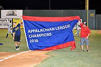 The 2018 Appalachian League championship banner is shown as the Elizabethton Twins celebrate winning the Appalachian League Championship Series against the Princeton Rays 2-1 at Joe O'Brien Field on September 5, 2018 in Elizabethton, Tennessee. (Tony Farlow/Four Seam Images)