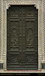 Detail of Bronze Doors Right Portal 19th c Facade Santa Maria del Fiore Florence