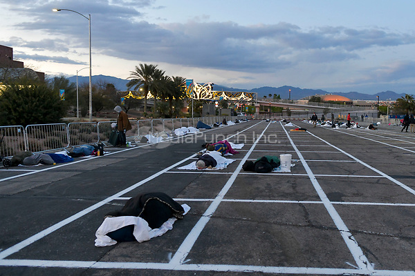 Las Vegas NV - March 29:  Homeless men test positive for Covid-19 causing closure of Catholic Charities men's shelter. Temporary homeless shelter now open at Cashman Center in Las Vegas, Nevada on March 29, 2020. Credit: Damairs Carter/MediaPunch