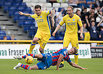 Inverness Caley Thistle v St Johnstone…27.08.16..  Tulloch Stadium  SPFL<br />Paul Paton skips over a tackle from Alex Fisher<br />Picture by Graeme Hart.<br />Copyright Perthshire Picture Agency<br />Tel: 01738 623350  Mobile: 07990 594431