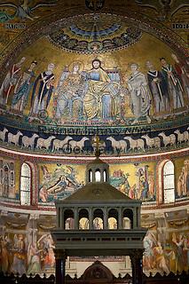 Italy, Lazio, Rome: Mosaics inside the church of Santa Maria in Trastevere, Piazza Santa Maria in Trastevere | Italien, Latium, Rom: Mosaiken im Innern der Kirche Santa Maria in Trastevere auf der Piazza Santa Maria in Trastevere