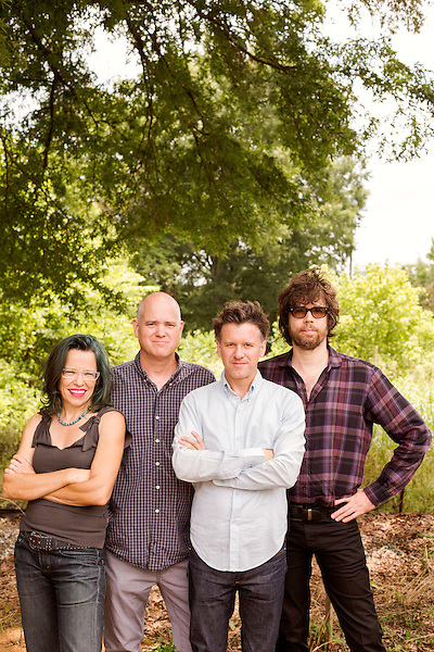 July 25, 2014. Carrboro, North Carolina.<br />  Superchunk is (left to right) Laura Ballance, Jim Wilbur, Mac McCaughan and Jon Wurster. McCaughan and Ballance also co-founded MERGE Records.<br />  Day three of the MERGE 25 festival, celebrating the 25 year history of the independent record label.
