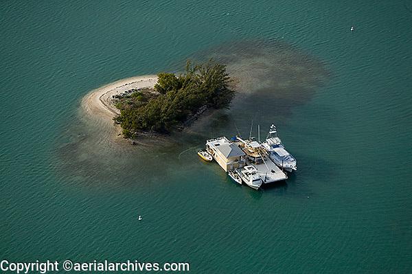 aerial photograph boats docked at small island Biscayne Bay  Miami, Florida