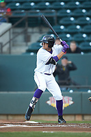 Blake Rutherford (9) of the Winston-Salem Dash at bat against the Lynchburg Hillcats at BB&T Ballpark on May 1, 2018 in Winston-Salem, North Carolina. The Dash defeated the Hillcats 9-0. (Brian Westerholt/Four Seam Images)