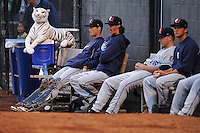 West Michigan Whitecaps bullpen watches the action along with their mascot during the game against the Clinton LumberKings at Ashford University Field on July  25, 2014 in Clinton, Iowa. The Whitecaps won 9-0.   (Dennis Hubbard/Four Seam Images)