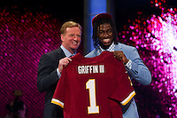 NFL commissioner Roger Goodell with the second overall pick quarterback Robert Griffin III (Baylor) during the first round of the 2012 NFL Draft at Radio City Music Hall in New York, NY, on April 26, 2012.
