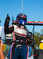 Oct 14, 2019; Concord, NC, USA; NHRA top fuel driver Steve Torrence celebrates after winning the Carolina Nationals at zMax Dragway. Mandatory Credit: Mark J. Rebilas-USA TODAY Sports