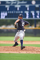 GCL Yankees West relief pitcher Deivi Garcia (25) delivers a pitch during the first game of a doubleheader against the GCL Yankees East on July 19, 2017 at the Yankees Minor League Complex in Tampa, Florida.  GCL Yankees West defeated the GCL Yankees East 11-2.  (Mike Janes/Four Seam Images)