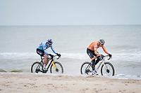 Wout van Aert (BEL/Jumbo-Visma) & Mathieu Van der Poel (NED/Alpecin-Fenix) racing along the coastline<br /> <br /> UCI 2021 Cyclocross World Championships - Ostend, Belgium<br /> <br /> Elite Men's Race<br /> <br /> ©kramon