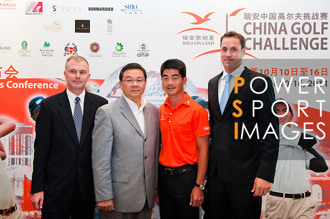 (L-R) Marc Boggia Director of Great 18 Golf Championship Ltd., Freddy Lee Managing Director and CEO Shui On Land, Liang Wen-Chong China no1 golf player and Raymond Roessel Tournament Director and Managing Director Infinite Ideas International attends the press conference ahead the China Golf Challenge on August 29, 2011 in Shanghai, China. Photo by © Victor Fraile / The Power of Sport Images for Fast Track / Infinite Ideas International