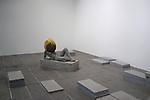 PIERRE HUYGHE<br /> <br /> Untilled (Liegender Frauenakt), 2012<br /> Moulage en béton avec une structure autour de la tête<br /> entourée d'une ruche, cire, abeilles<br /> Sculpture : 75 x 145 x 45 cm ; socle : 30 x 145 x 55 cm<br /> Dimensions de la ruche variables<br /> Vue de l'exposition, Centre Pompidou, Galerie sud, 2013<br /> Lieu : Centre Pompidou<br /> Ville : Paris<br /> Le : 24/11/2013