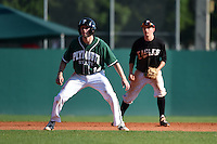 Plymouth State Panthers Eric Leitch (14) leads off in front of shortstop Andrew Lauritzen during the first game of a doubleheader against the Edgewood Eagles on March 17, 2015 at Terry Park in Fort Myers, Florida.  Edgewood defeated Plymouth State 12-3.  (Mike Janes/Four Seam Images)