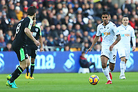 Kyle Naughton of Swansea City is marked by Harry Arter of Bournemouth during the Premier League match between Swansea City and Bournemouth at the Liberty Stadium, Swansea, Wales, UK. Saturday 25 November 2017