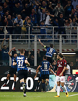 Calcio, Serie A: Milano, stadio Giuseppe Meazza, 15 ottobre 2017.<br /> Inter's captain Mauro Icardi celebrates after scoring with his teammates during the Italian Serie A football match between Inter and Milan at Giuseppe Meazza (San Siro) stadium, October15, 2017.<br /> UPDATE IMAGES PRESS/Isabella Bonotto