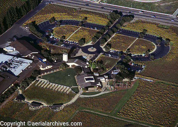aerial photograph of the Mondavi Winery, Oakville, Napa Valley, California