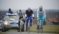 Gent-Wevelgem 2013.after going at it solo, Juan Antonio Flecha (ESP) was joined by Matthieu Ladagnous (FRA) & Assan Bazayev (KAZ) to lead the race.
