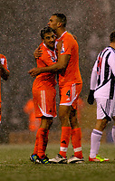 Pictured L-R: Team mates Neil Taylor and Steven Caulker of Swansea congratulate each other after the final whistle. Saturday, 04 February 2012<br /> Re: Premier League football, West Bromwich Albion v Swansea City FC v at the Hawthorns Stadium, Birmingham, West Midlands.