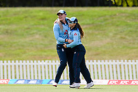 23rd February 2021, Christchurch, New Zealand;  Tammy Beaumont (r) of England celebrates Sarah Glenn  catching out Sophie Devine of New Zealand off the bowling of Nat Sciver of England during the 1st ODI Cricket match, New Zealand versus England, Hagley Oval, Christchurch, New Zealand