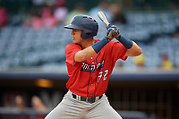 Jacksonville Jumbo Shrimp Corey Bird (32) at bat during a Southern League game against the Mississippi Braves on May 4, 2019 at Trustmark Park in Pearl, Mississippi.  Mississippi defeated Jacksonville 2-0.  (Mike Janes/Four Seam Images)