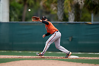 Baltimore Orioles Collin Woody (71) stretches for a throw during a Minor League Spring Training game against the Boston Red Sox on March 20, 2019 at the Buck O'Neil Baseball Complex in Sarasota, Florida.  (Mike Janes/Four Seam Images)