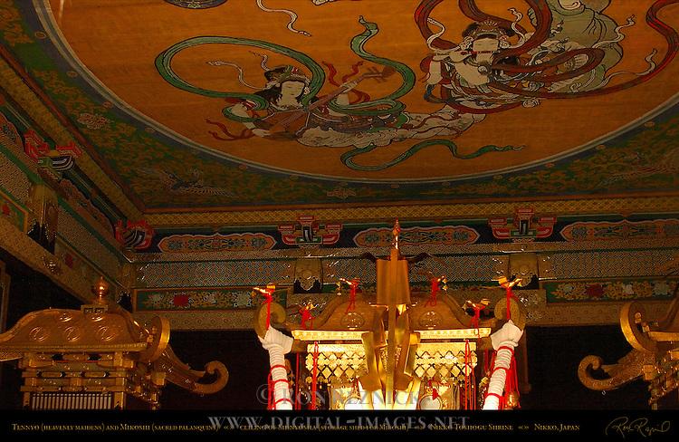 Tennyo Heavenly Maidens Mikoshi Sacred Spirit Palanquins Shinyosha Ceiling Honsha Central Shrine Nikko Toshogu Shrine Nikko Japan