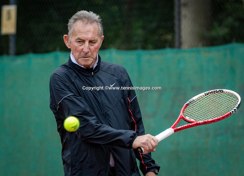 Hilversum, The Netherlands,  August 18, 2020,  Tulip Tennis Center, NKS, National Senior Championships, Men's single 80+ , Gerard Scholtes  (NED) <br /> Photo: www.tennisimages.com/Henk Koster
