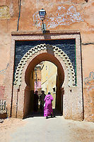Decorated Arabesque Berber  and entrance to the Medina. A UNESCO World Heritage Site .Meknes, Meknes-Tafilalet, Morocco.