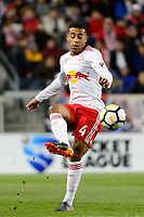 Harrison, NJ - Tuesday April 10, 2018: Tyler Adams during leg two of a  CONCACAF Champions League semi-final match between the New York Red Bulls and C. D. Guadalajara at Red Bull Arena. C. D. Guadalajara defeated the New York Red Bulls 0-0 (1-0 on aggregate).
