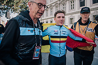 Remco Evenepoel (BEL) smashes the competition and is the new Junior TT World Champion<br /> <br /> MEN JUNIOR INDIVIDUAL TIME TRIAL<br /> Hall-Wattens to Innsbruck: 27.8 km<br /> <br /> UCI 2018 Road World Championships<br /> Innsbruck - Tirol / Austria