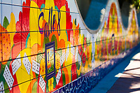 Painted Calle Ocho tiles in Domino Park, in the famous, colorful, Cuban Little Havana neighborhood of Miami, Florida USA