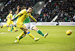Hibs v St Johnstone…18.11.17…  Easter Road…  SPFL<br />Michael O'Halloran's shot is saved by Ofir Marciano<br />Picture by Graeme Hart. <br />Copyright Perthshire Picture Agency<br />Tel: 01738 623350  Mobile: 07990 594431