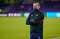 ORLANDO, FL - JANUARY 18: Vlatko Andonovski head coach of the United States masked up during a game between Colombia and USWNT at Exploria Stadium on January 18, 2021 in Orlando, Florida.