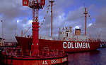 On display at the Astoria, Oregon Maritime Museum the lightship Columbia once was an aid to navigation at the fearsome mouth of the Columbia River.