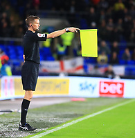 28th September 2021; Cardiff City Stadium, Cardiff, Wales;  EFL Championship football, Cardiff versus West Bromwich Albion; The assistant referee flags for offside