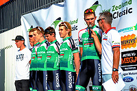The Skoda Racing team during the opening ceremony of the NZ Cycle Classic UCI Oceania Tour at Mitre 10 Mega in Masterton, New Zealand on Tuesday, 16 January 2018. Photo: Dave Lintott / lintottphoto.co.nz