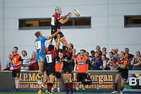 20130803 Copyright onEdition 2013 ©<br />Free for editorial use image, please credit: onEdition.<br /><br />Eoin Sheriff of Saracens 7s takes clean lineout ball and plasm it down to Ben Ransom of Saracens 7s during the J.P. Morgan Asset Management Premiership Rugby 7s Series.<br /><br />The J.P. Morgan Asset Management Premiership Rugby 7s Series kicks off for the fourth season on Thursday 1st August with Pool A at Kingsholm, Gloucester with Pool B being played at Franklin's Gardens, Northampton on Friday 2nd August, Pool C at Allianz Park, Saracens home ground, on Saturday 3rd August and the Final being played at The Recreation Ground, Bath on Friday 9th August. The innovative tournament, which involves all 12 Premiership Rugby clubs, offers a fantastic platform for some of the country's finest young athletes to be exposed to the excitement, pressures and skills required to compete at an elite level.<br /><br />The 12 Premiership Rugby clubs are divided into three groups for the tournament, with the winner and runner up of each regional event going through to the Final. There are six games each evening, with each match consisting of two 7 minute halves with a 2 minute break at half time.<br /><br />For additional images please go to: http://www.w-w-i.com/jp_morgan_premiership_sevens/<br /><br />For press contacts contact: Beth Begg at brandRapport on D: +44 (0)20 7932 5813 M: +44 (0)7900 88231 E: BBegg@brand-rapport.com<br /><br />If you require a higher resolution image or you have any other onEdition photographic enquiries, please contact onEdition on 0845 900 2 900 or email info@onEdition.com<br />This image is copyright the onEdition 2013©.<br /><br />This image has been supplied by onEdition and must be credited onEdition. The author is asserting his full Moral rights in relation to the publication of this image. Rights for onward transmission of any image or file is not granted or implied. Changing or deleting Copyright information is illegal as specified in 