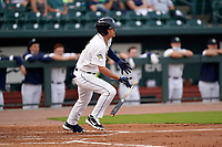 Brady McConnell (13) of the Columbia Fireflies in a game against the Charleston RiverDogs on Tuesday, May 11, 2021, at Segra Park in Columbia, South Carolina. (Tom Priddy/Four Seam Images)