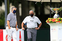 4th September 2020, Atlanta GA, USA;  John Mount (l) Vice President, Sports Marketing and Region Assets at The Coca-Cola Company and Atlanta Falcons team owner Arthur Blank (r) look on during the first round of the TOUR Championship  at the East Lake Golf Club in Atlanta, GA.