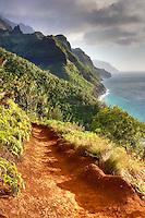 Napali Coast Trail at sunset. Kauai, Hawaii.