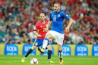 Spain's David Jimenez Silva (l) and Italy's Leonardo Bonucci during FIFA World Cup 2018 Qualifying Round match. September 2,2017.(ALTERPHOTOS/Acero)