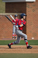Michael Anastasia (9) of the NJIT Highlanders follows through on his swing against the High Point Panthers during game one of a double-header at Williard Stadium on February 18, 2017 in High Point, North Carolina.  The Panthers defeated the Highlanders 11-0.  (Brian Westerholt/Four Seam Images)